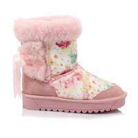 年冬季羊皮毛一体牛筋底雪地靴圆头磨砂平底套脚中筒靴