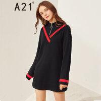 A21以纯线上品牌2017冬季新品假两件连衣裙女装 宽松半高领短款裙子4742373002