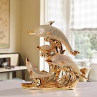 欧式镀金陶瓷摆件家居装饰品房间客厅电视柜酒柜玄关小工艺品 海豚湾之恋