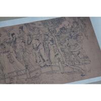 1:1唐吴道子八十七神仙卷国画工笔画白描古代名画复制品装饰画 30.6*292.5厘米
