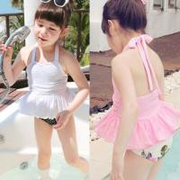 儿童游泳衣女孩泳衣分体挂脖比基尼温泉韩版女童蕾丝公主裙式泳装