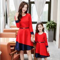 儿童母女装连衣裙韩版修身童装女童a字裙 亲子装春装2017新款裙子