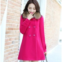 秋冬新款女装毛呢外套韩版大码修身中长款毛领呢大衣女
