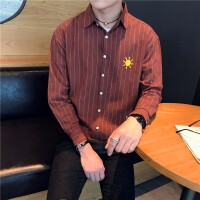 长袖衬衣男条纹刺绣衬衣宽松休闲条纹上衣衬衫男衬衣