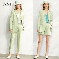 【到手价:203元】Amii极简职业装套装女2020春新款小西装外套裤装两件套西服三件套