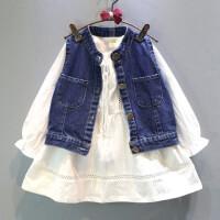女童套�b�和�牛仔�R甲+�L袖�B衣裙�杉�套