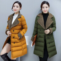 棉衣女中长款2017冬季韩版修身羊羔毛翻领棉袄加厚外套潮 TZ719橘黄