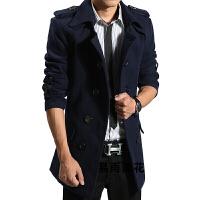 秋冬季 男士修身韩版大衣毛呢外套男装中长款毛呢布 S 165/S