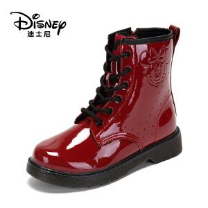 鞋柜/迪士尼童鞋女童靴子2018冬儿童中筒靴二棉公主靴马丁靴1