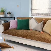 北欧简约冬季毛绒沙发垫防滑加厚四季通用沙发巾皮沙发坐垫套