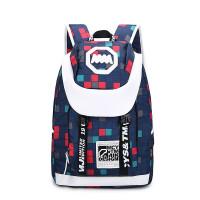 新款双肩包女韩版潮背包男中学生校园书包电脑旅行包ik 深蓝色.