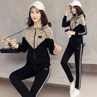 韩版时髦女装连帽卫衣长袖长裤两件套 新款潮大码休闲运动套装女跑步服