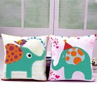 新款十字绣抱枕情侣象一对卧室可爱卡通动漫动物沙发靠枕汽车靠垫 大象 一对枕套含枕芯