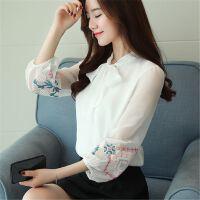 雪纺上衣18春装新款女仙气长袖甜美打底衫蝴蝶结系带衬