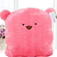 七夕礼物 可爱豆豆熊方熊毛绒玩具公仔暖手捂抱枕毯三合一毛毛熊靠垫两用款 粉色超柔+毛毯 里面毛毯160*100CM