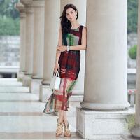 真丝连衣裙年夏季优雅韩版宽松气质修身显瘦中长款无袖