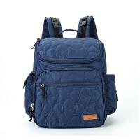 妈咪包双肩多功能大容量母婴包外出妈妈包待产包袋子 心心相印蓝色(皮标logo)灰色里布