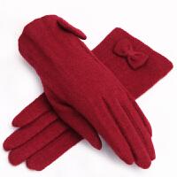 羊毛手套女士秋冬款保暖气质显瘦蝴蝶结韩版分指手套