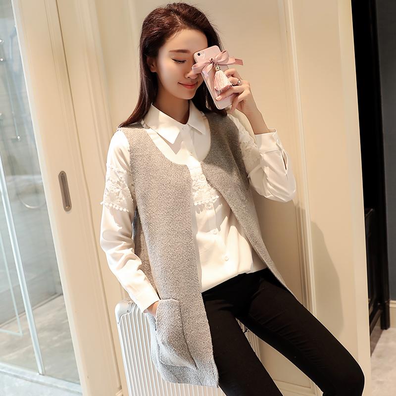 秋季新款时尚百搭显瘦背心马甲针织衫韩版文艺口袋无袖女韩版外套薄潮流毛衣