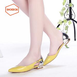 达芙妮旗下SHOEBOX/鞋柜春新款尖头低跟水钻平底单鞋中空女鞋
