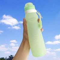 旅行便携硅胶软水壶登山感温变色可折叠水袋骑行水瓶户外运动水杯 水袋骑行登山折叠水壶 绿色 600ml 感温