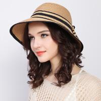 帽子女夏天韩版百搭草帽沙滩帽防晒太阳帽可折叠遮阳帽渔夫帽盆帽
