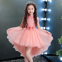 公主裙女童儿童婚纱夏季蓬蓬裙小孩夏装钢琴演出服花童礼服女拖尾