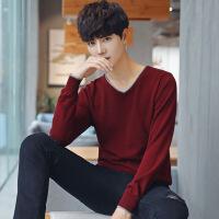 2017男士毛衣新款韩版潮流个性修身打底针织衫男v领薄线