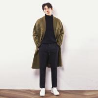 秋冬季羊绒大衣男韩版中长款双面呢大衣男士毛呢外套宽松加厚 军绿色 S