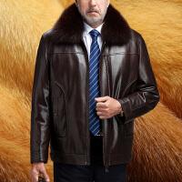 中老年真皮皮衣男 皮装男式尼克服男蓝狐领大码冬装皮夹克爸爸装