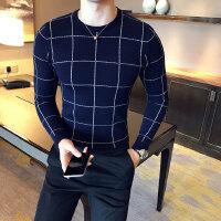 2017秋款英伦风男士格子毛线衣修身毛衣青年休闲针织衫套头打底衫