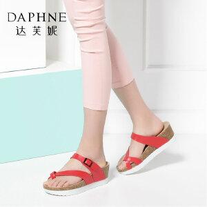 Daphne/达芙妮女鞋夏季夹趾女凉鞋经典坡跟厚底拖鞋-
