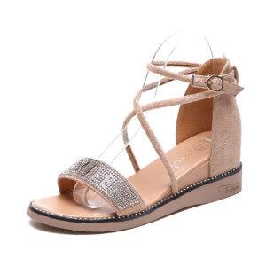ELEISE美国艾蕾莎新品060-3326韩版磨砂绒面坡跟女士凉鞋