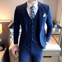 秋季男士西服套装韩版修身三件套休闲小西装青年条纹潮男婚礼西装