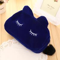 收纳袋 可爱猫咪收纳包 韩版布艺美容套装礼品旅行化妆包