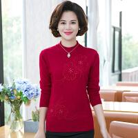 中老年女装毛衣加厚大码纯色半高领羊毛衫打底衫冬季妈妈装针织衫