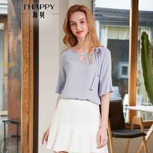 海贝2018夏装新款女上衣纯色圆领镂空系带短袖小衫荷叶袖雪纺衬衫