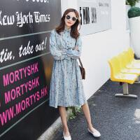【下单立减30元/仅限今日】AGECENTRE 2019春夏装新款长袖灯芯绒印花连衣裙