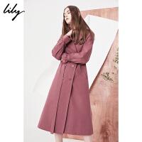 Lily2018春新款风衣女装双排扣长款风衣腰带两穿收腰风衣118110C1219