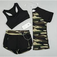 2018040350482夏季女士瑜伽服女套装新款时尚专业跑步运动三件套迷彩健身服