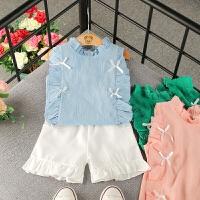 女童夏季雪纺时尚套装2018新款韩版无袖上衣短裤两件套女宝宝套装