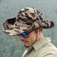 男士帽子户外运动迷彩渔夫帽大头围遮阳登山户外透气垂钓钓鱼帽防晒帽