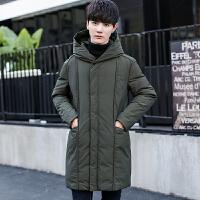 男装冬季新款纯色连帽男士中长款羽绒服加厚保暖修身韩版青年外套 绿色 M