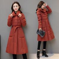 棉衣女中长款2017冬季新款韩版系带收腰外套加厚保暖a字棉