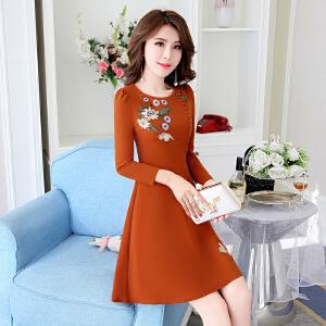 2018新款女韩版时尚女士连衣裙长袖秋冬款加厚刺绣修身显瘦打底裙