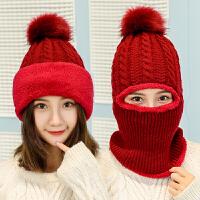 骑车户外防寒女士帽子冬季针织防风帽护颈套头毛线帽子男冬天保暖