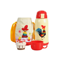 【限时秒杀】杯具熊(BEDDYBEAR)儿童保温杯带吸管316不锈钢双盖保温壶630ml 3D版-白色小鸡