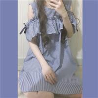 春季女装新款韩版露肩荷叶边蝴蝶结中裙女学生条纹连衣裙 带发箍