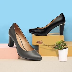 达芙妮女鞋 秋季都市潮流高跟鞋浅口粗跟女单鞋
