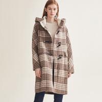 【折扣价:773元】红袖冬装新款日系中长款格子毛呢外套